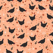 Pattern with pockmarked hens on a beige background.