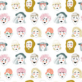 pattern with portraits of people, seamless vector pattern on white background