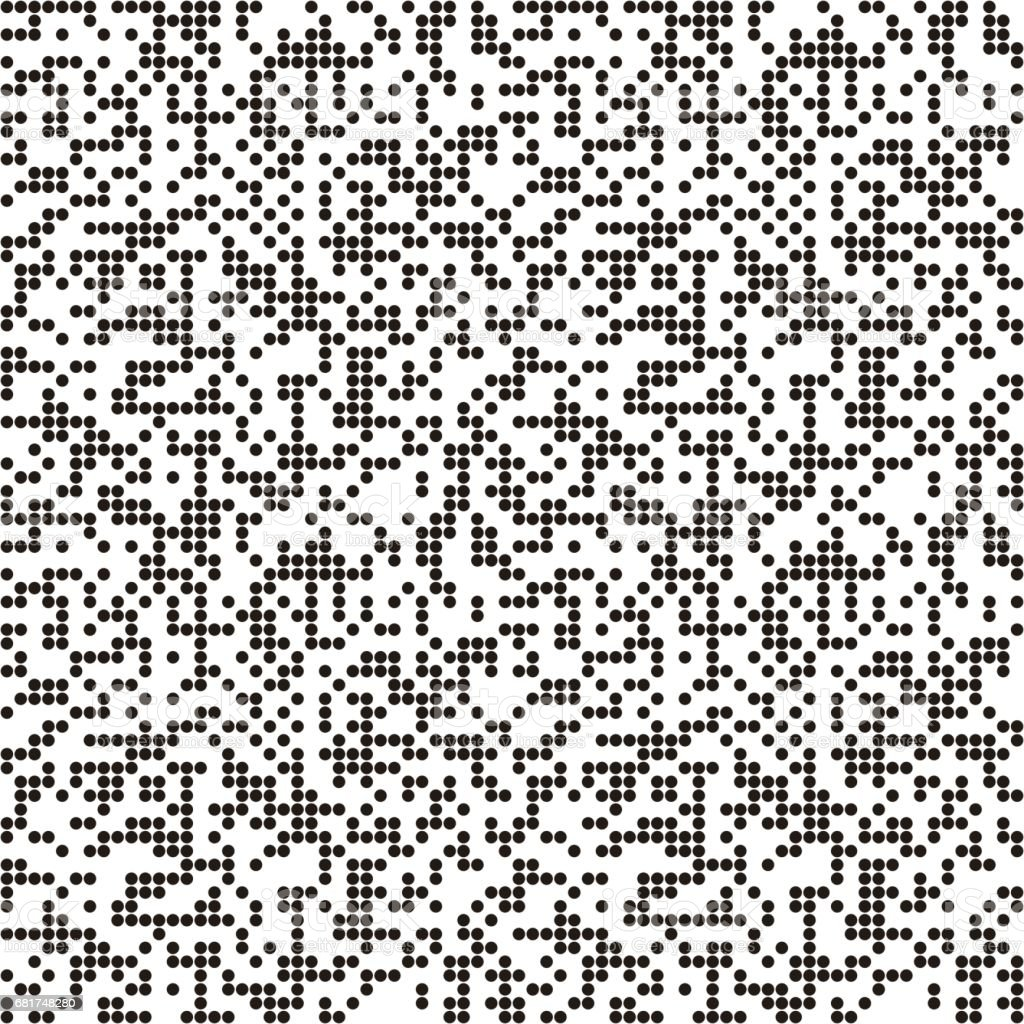 Pattern with QR code circles, dotted background. Seamlessly