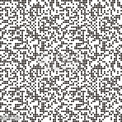 Pattern with QR code circles, dotted background. Seamlessly repeating.