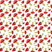 Pattern with red fly agaric. Vector illustration isolated on white background. Image for wrapping paper, textiles, fabric, scrapbooking and decor.
