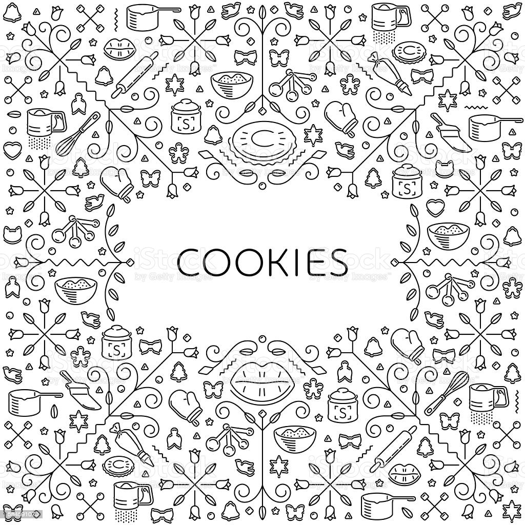 Pattern with restaurant and kitchen utensils for cookies - ilustración de arte vectorial