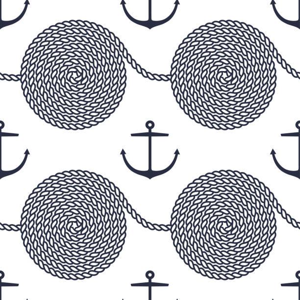 muster mit seil spiralen und anker - kabelskulpturen stock-grafiken, -clipart, -cartoons und -symbole