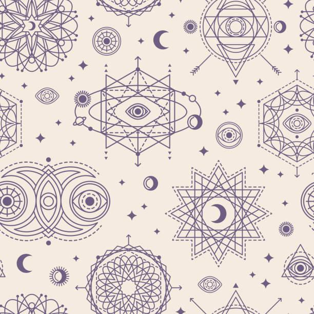 ilustrações de stock, clip art, desenhos animados e ícones de pattern with sacred geometry forms - astrologia