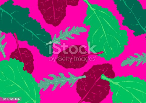 istock Pattern with salad leaves and herbs. Colorful sketch collection of green vegetables and herbs isolated on pink background. Doodle hand drawn vegetable illustrations 1317642647