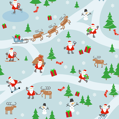 Pattern with Santa Clauses.