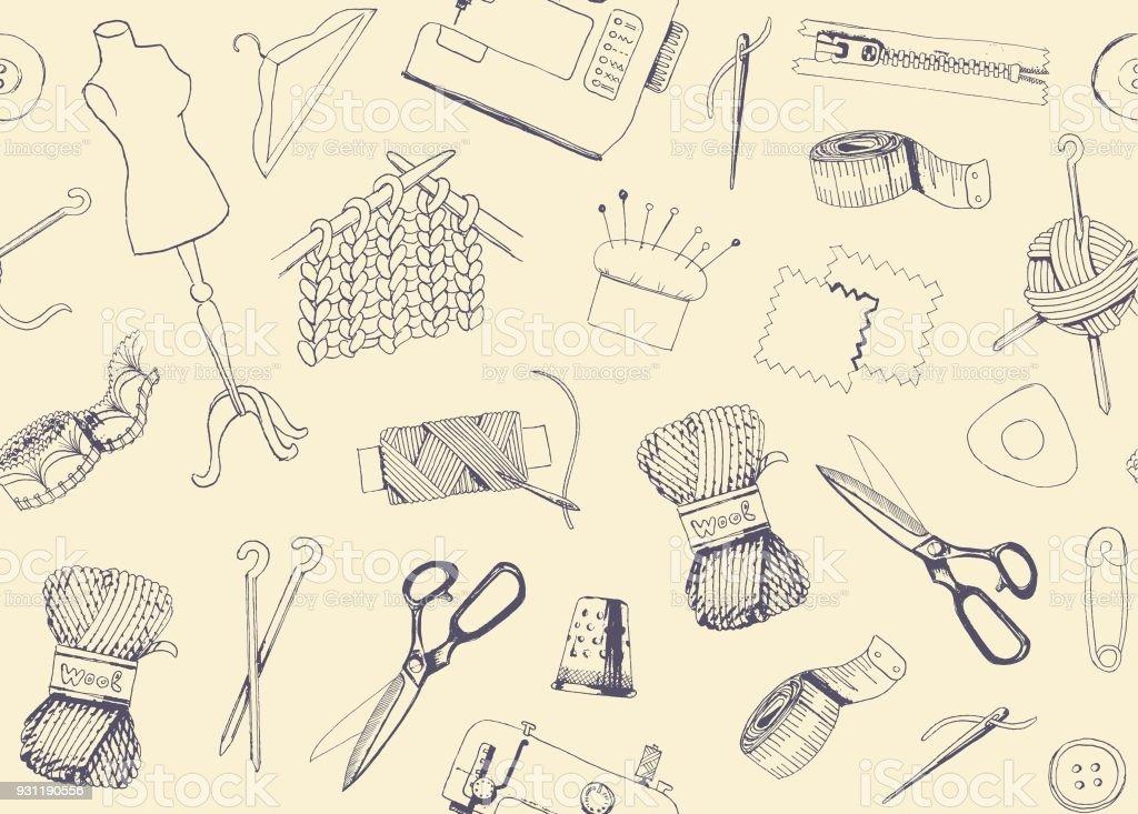 Muster Mit Skizzen Von Nähen Und Stricken Stock Vektor Art und mehr ...