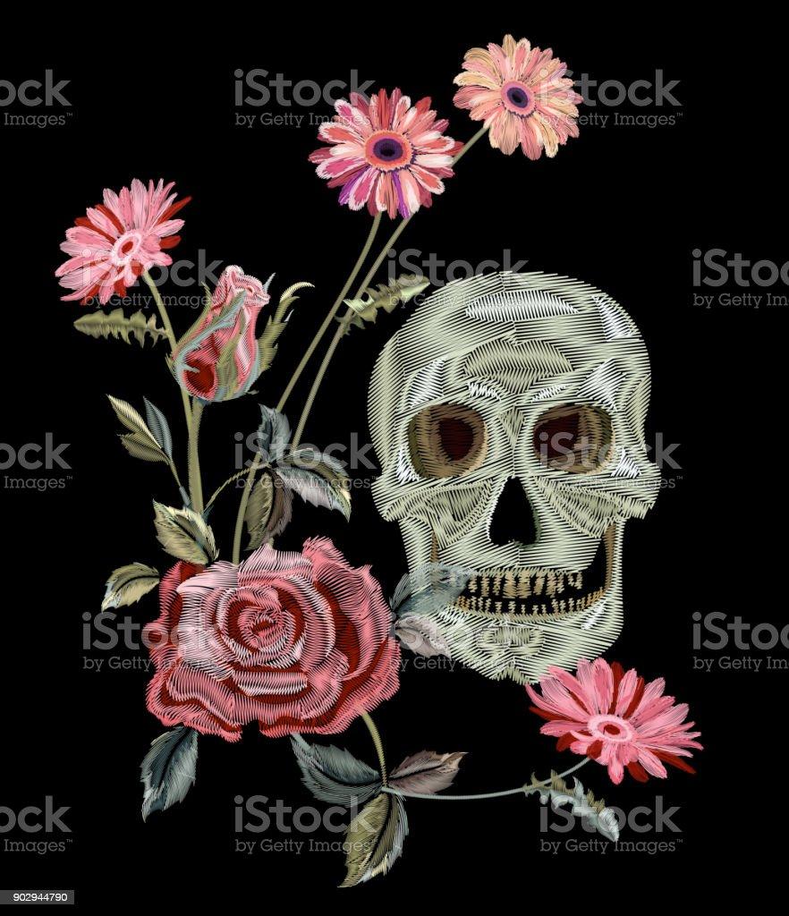 Pattern with skull pink rose gerbera daisy embroidery red pink pattern with skull pink rose gerbera daisy embroidery imitation satin stitches mightylinksfo