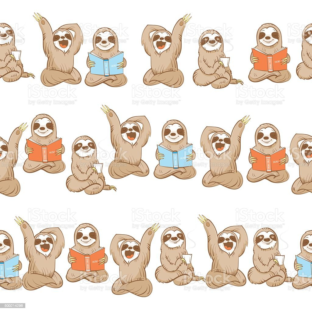 Pattern with sloth. vector art illustration