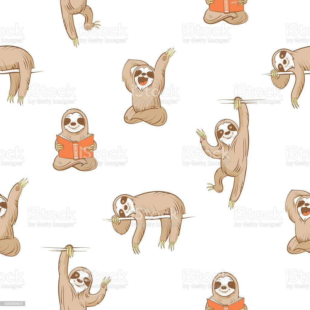 Pattern with sloths. vector art illustration