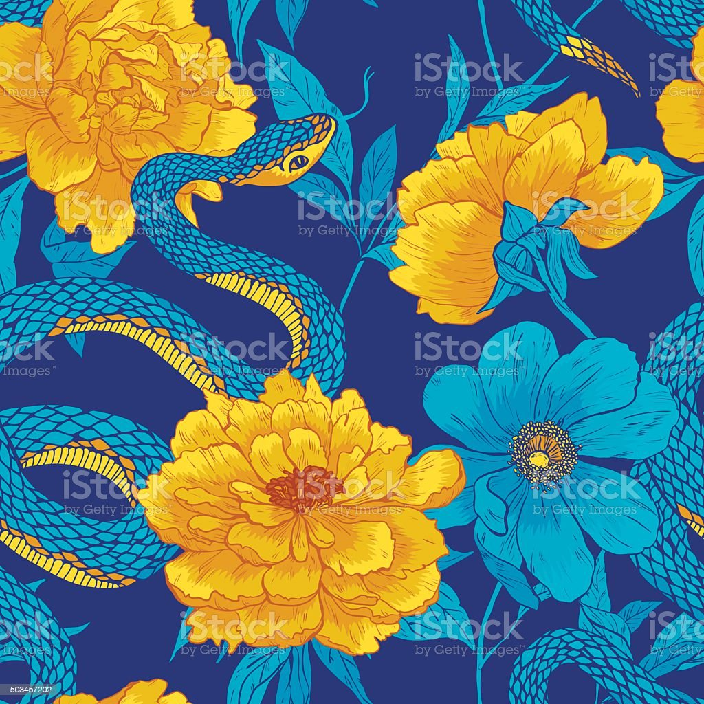 Pattern with snake and flowers. vector art illustration