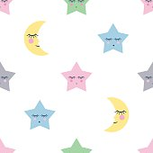Seamless pattern with sleeping stars and moon for kids holidays. Cute baby shower vector background.