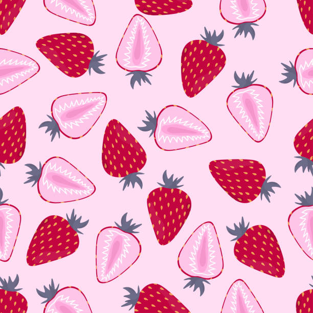 pattern with strawberry on pink vector art illustration