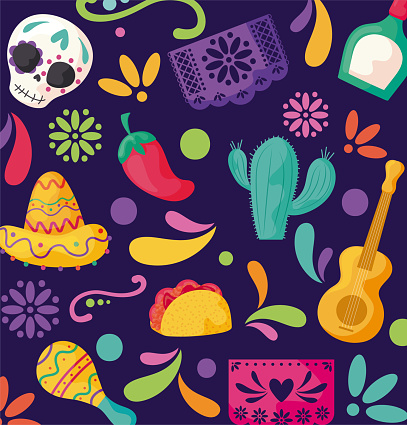 pattern with symbol mexicans, holiday cinco de mayo