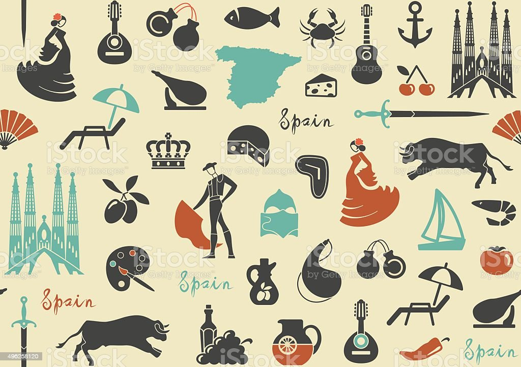 Pattern with symbols of Spain vector art illustration