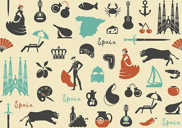 stockillustraties, clipart, cartoons en iconen met pattern with symbols of spain - castagnetten