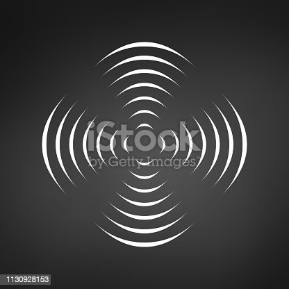 Pattern with symmetric geometric ornament for spinning propeller. black circle lines. 3d optical illusion effect. Vector illustration isolated on black