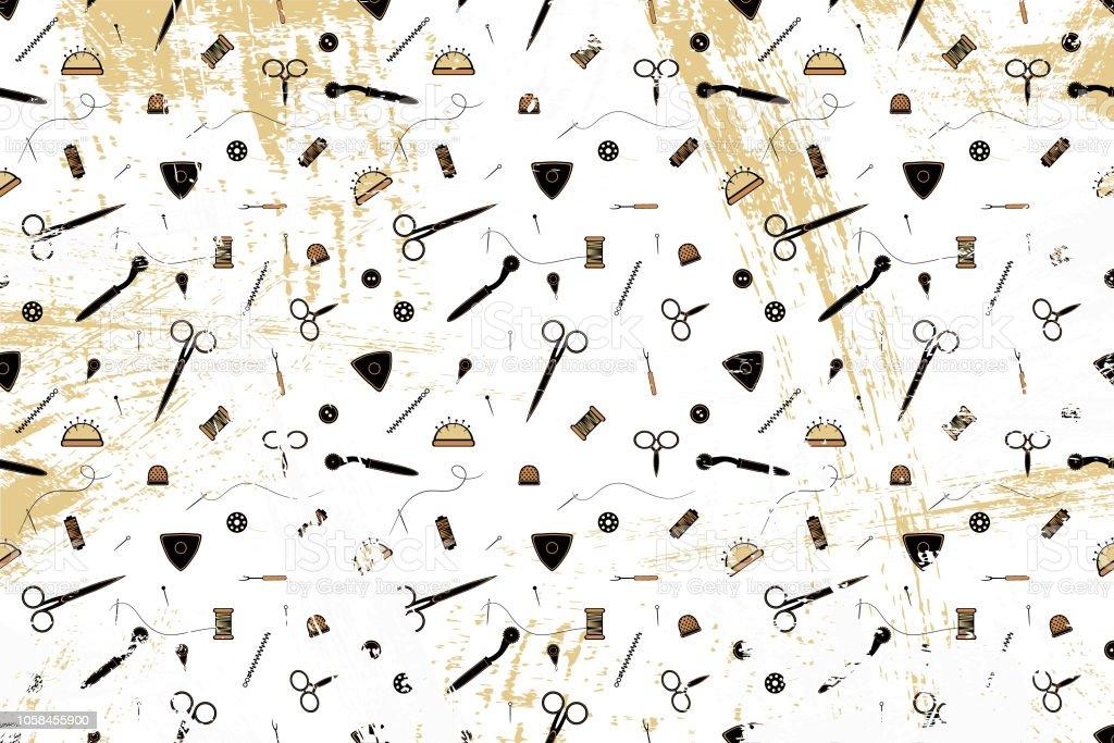 Muster Mit Dem Bild Von Werkzeugen Für Das Nähen Thema Für Mode ...