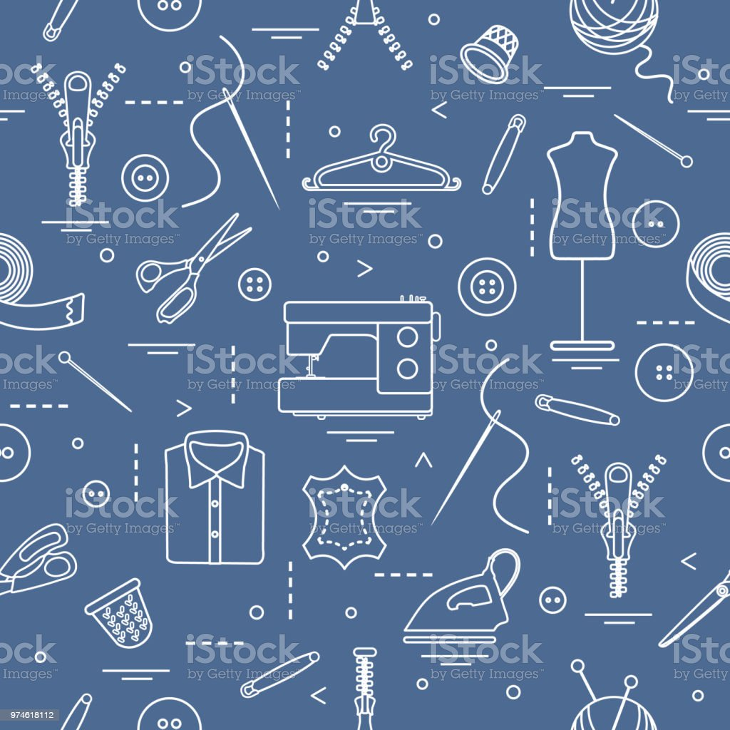 Pattern with tools and accessories for sewing. vector art illustration