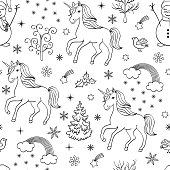 Pattern With Unicornstreesbirdssnowmen Coloring Book Page Cute