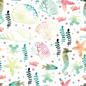 Pattern with watercolor marine motifs