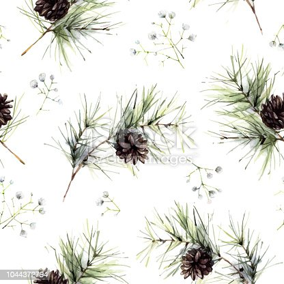Seamless pattern with cones. Floral watercolor background can be used in interior fashion, package design, web, prints.