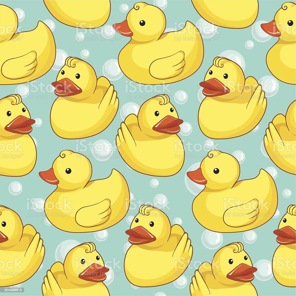 Pattern with yellow ducks vector art illustration