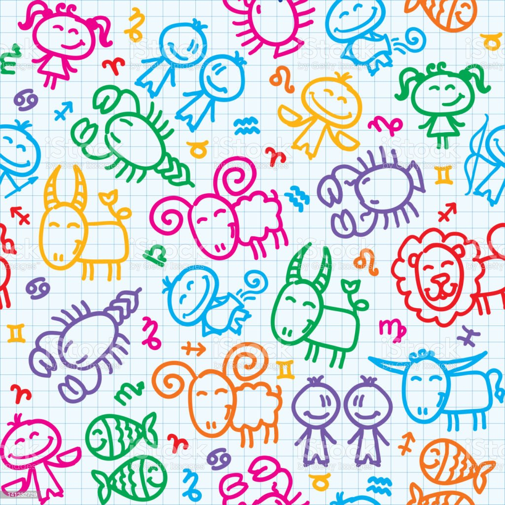 pattern with zodiac royalty-free pattern with zodiac stock vector art & more images of animal markings