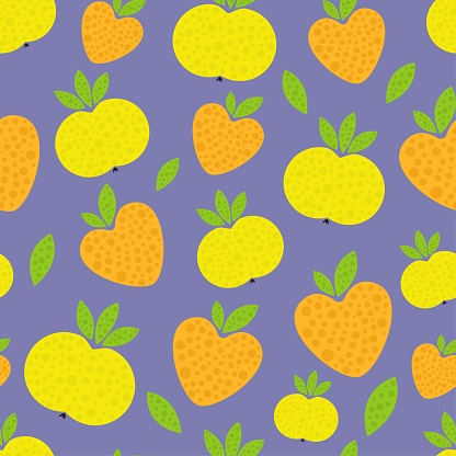pattern yellow apple on violet