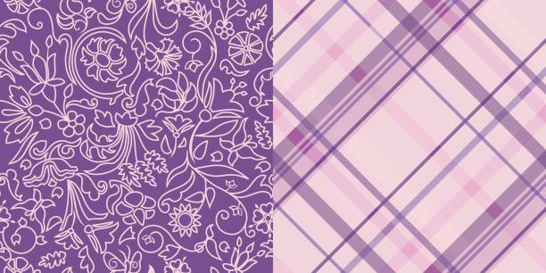 bildbanksillustrationer, clip art samt tecknat material och ikoner med pattern_set_repeat_floral_contours_and_diagonal_plaid_purple_pink - hui style