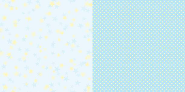 bildbanksillustrationer, clip art samt tecknat material och ikoner med pattern_set_stars_and_polka_dot_blue_background - hui style