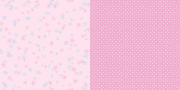 bildbanksillustrationer, clip art samt tecknat material och ikoner med pattern_set_stars_and_polka_dot_pink_background - hui style