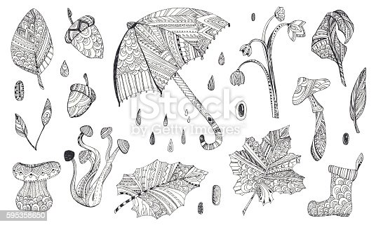 Pattern for adult, children coloring book page with autumn leaves, mushrooms, umbrella, boots....Cute Doodle sketch,black and white design. Hand drawn vector illustration,separated elements.