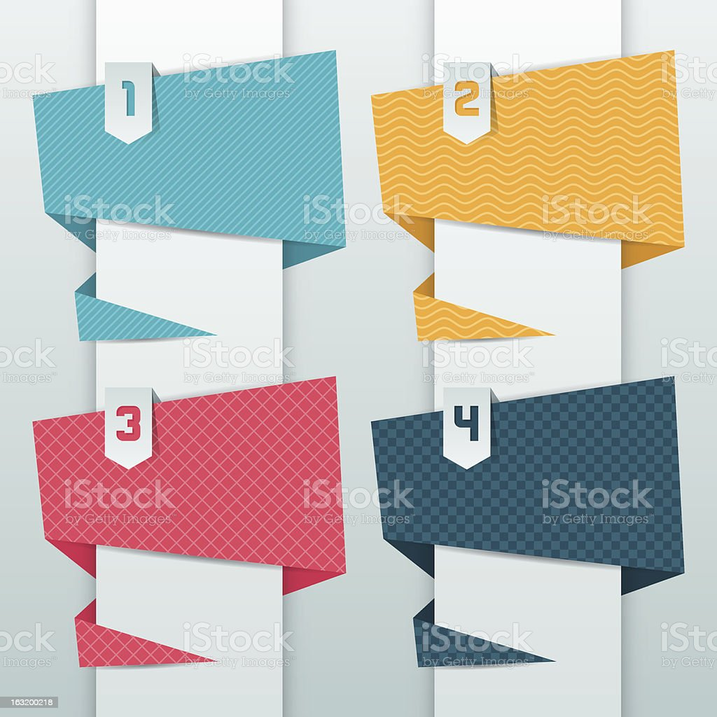 Patterned background, numbered origami banners. royalty-free stock vector art