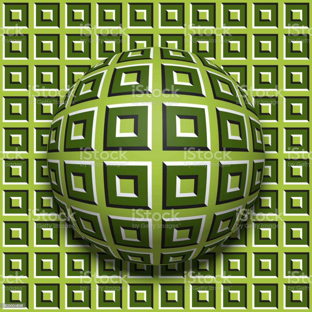 Gemusterte Kugelrollen entlang der gleichen Oberfläche. Abstrakte Vektorgrafik optische Täuschung. Bewegung-Hintergrund und Fliese nahtlose Tapete. – Vektorgrafik