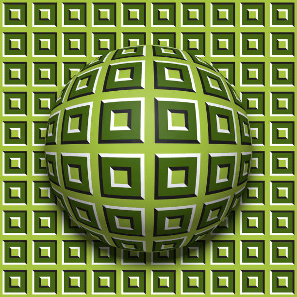 Patterned ball rolling along the same surface. Abstract vector optical illusion illustration. Motion background and tile of seamless wallpaper. vector art illustration