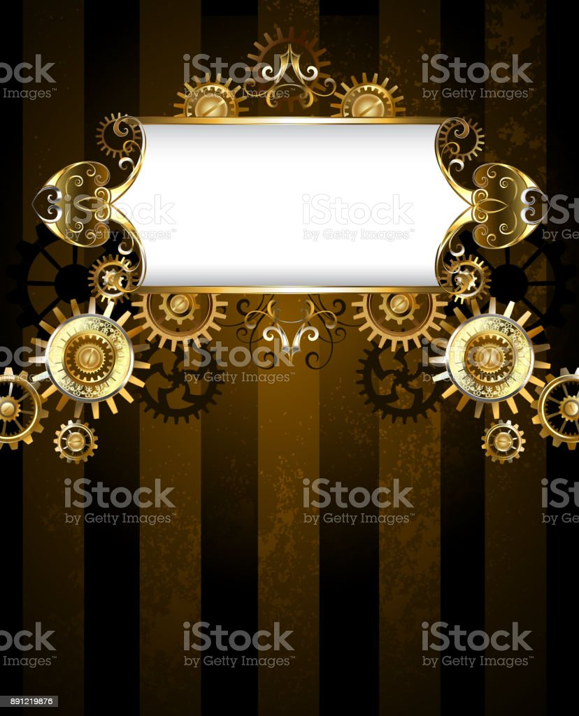 Patterned banner with gears vector art illustration