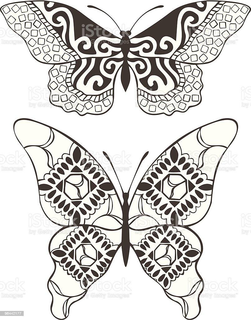 Patterned Butterflies - Royalty-free Blad vectorkunst