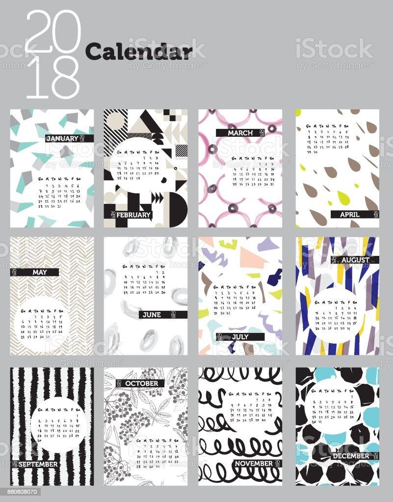 2018 patterned calendar design vector art illustration
