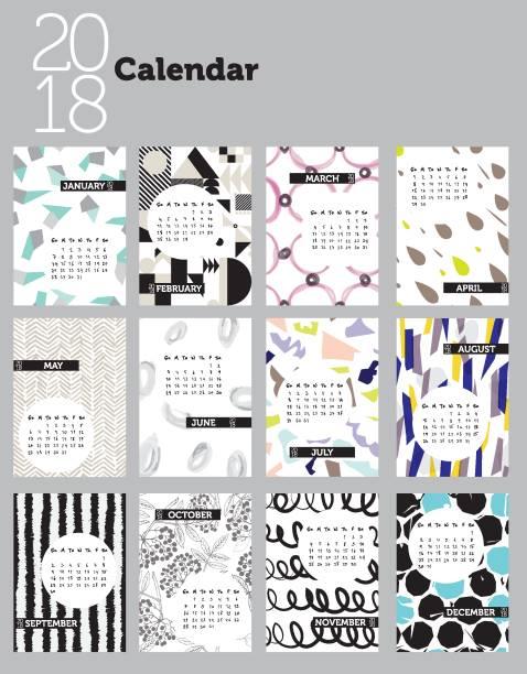 ilustraciones, imágenes clip art, dibujos animados e iconos de stock de diseño de calendario con motivos 2018 - calendario de flores