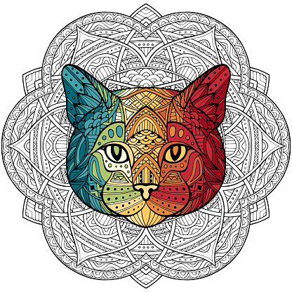 Patterned cat, kitty head in the style of a white background passing with colorful gradient. Tribal ornament painted by hand. Series ethnic animal. African, Indian. Mandala. Ornament. Vector