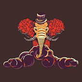Patterned elephant. Vector illustration. It may be used for desi