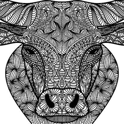Patterned face of ox. Symbol of 2021. Ornate bull Chinese New Years sign. Tattoo design. Coloring page. It may be used for design of a t-shirt, bag, postcard, a poster and so on.