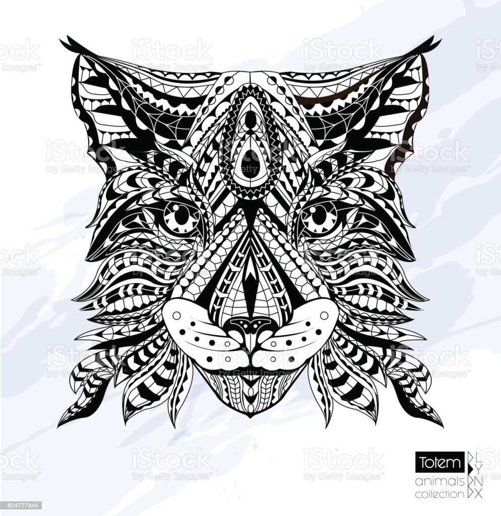 Patterned Head Of Lynx Wild Cat Black White Doodle Animal African Indian Totem Tattoo Design Tshirt Bag Postcard Poster Design Stock Illustration