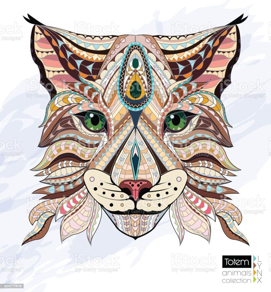 Desenli Kafa Lynx Vahsi Kedi Renk El Cizilmis Doodle Hayvan Afrika