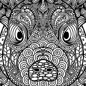 Patterned head of pig. Symbol of 2019. Ornate Chinese New Years sign. Tattoo design. Coloring page. It may be used for design of a t-shirt, bag, postcard, a poster and so on. Vector illustration.