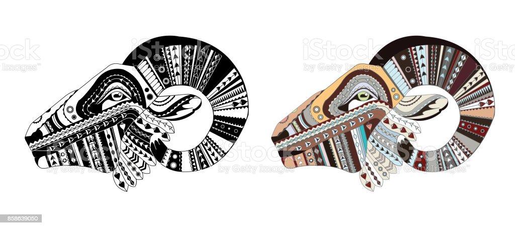 Desenli Ram Baskani Koyun Yetiskin Antistres Boyama Sayfasi Siyah