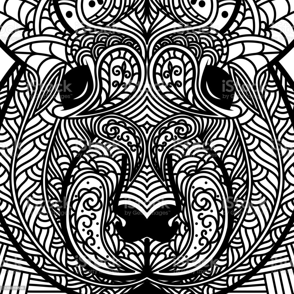 - Patterned Head Of Rat Symbol Of 2020 Ornate Chinese New Years Sign Tattoo  Design Coloring Page