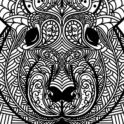 Patterned head of rat. Symbol of 2020. Ornate Chinese New Years sign. Tattoo design. Coloring page. It may be used for design of a t-shirt, bag, postcard, a poster and so on.