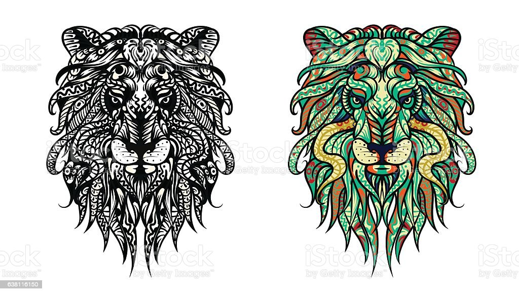 Patterned Head Of The Lion Adult Anti Stress Coloring Page Royalty Free